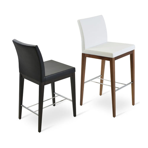 Aria Wood Counter Stool Leather by SohoConcept
