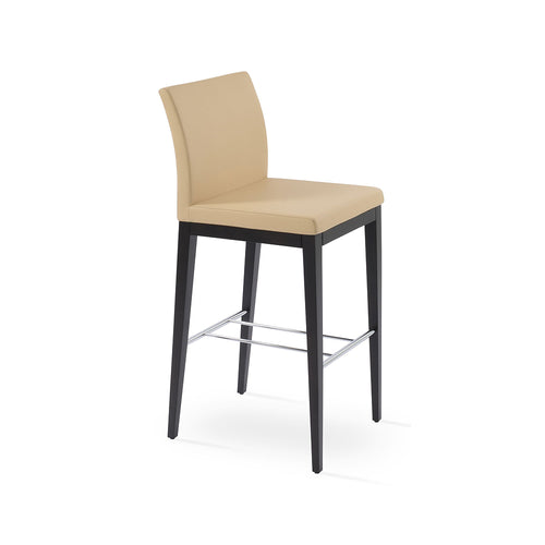 Aria Wood Bar Stool Leather by SohoConcept