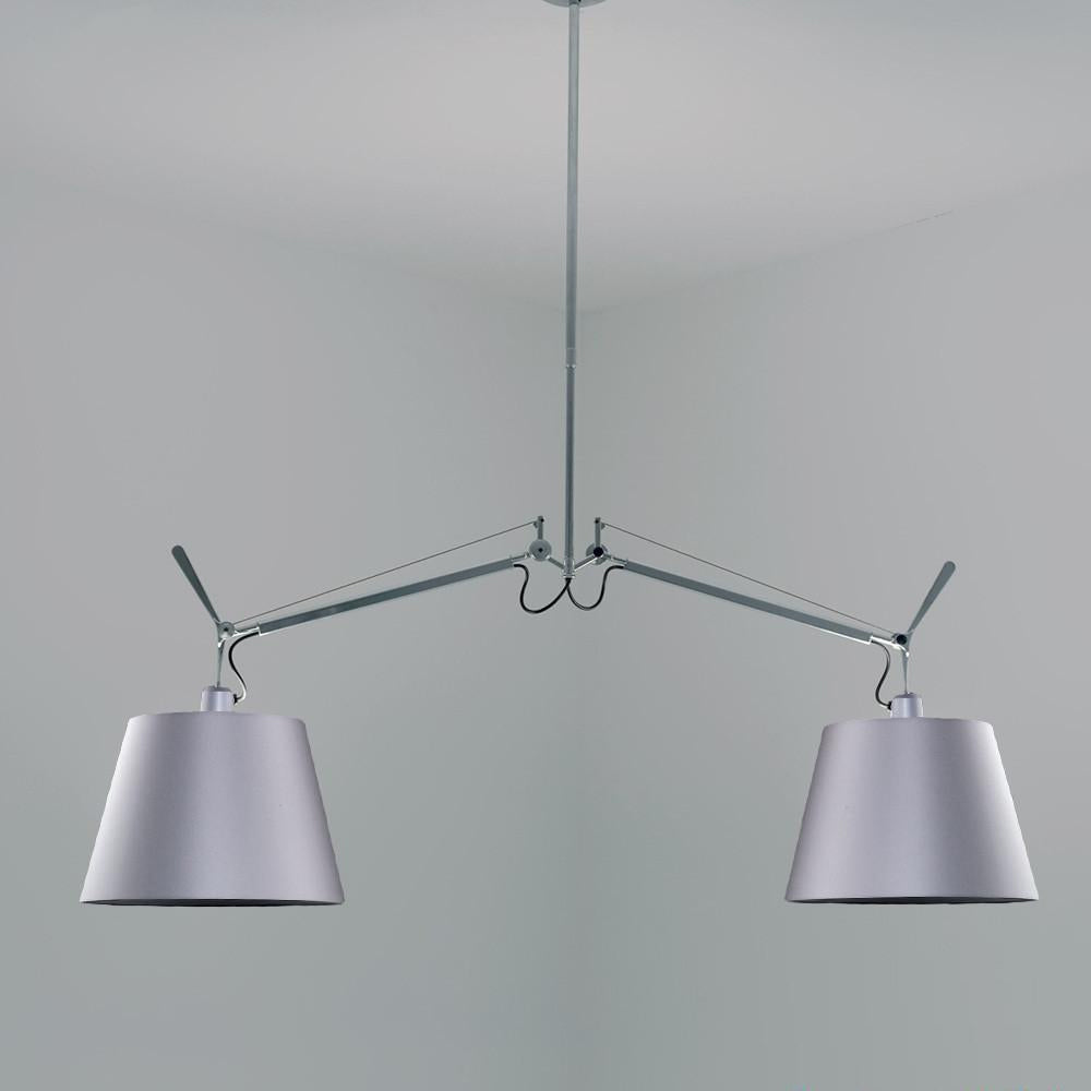 Tolomeo Double Silver Fiber Shade Pendant Light by Artemide