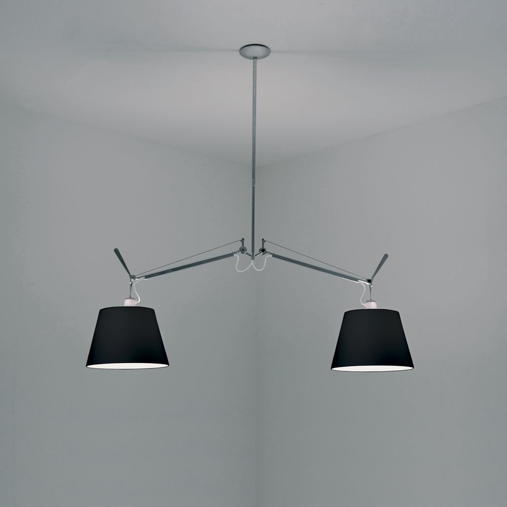 Tolomeo Double Black Fabric Shade Pendant Light by Artemide