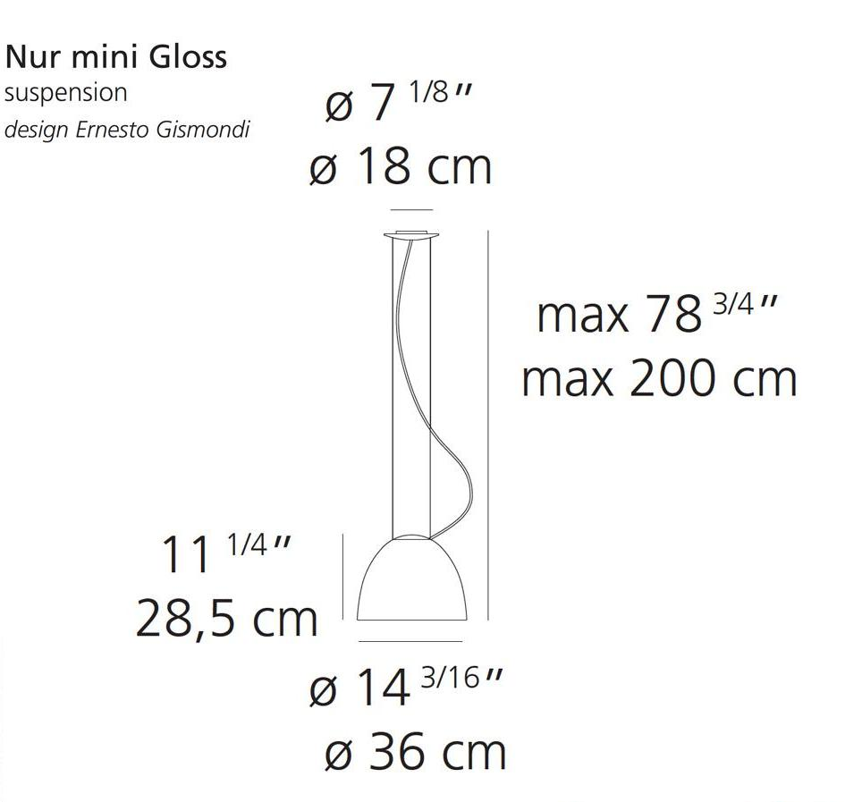 Nur Mini Gloss Pendant Light by Artemide
