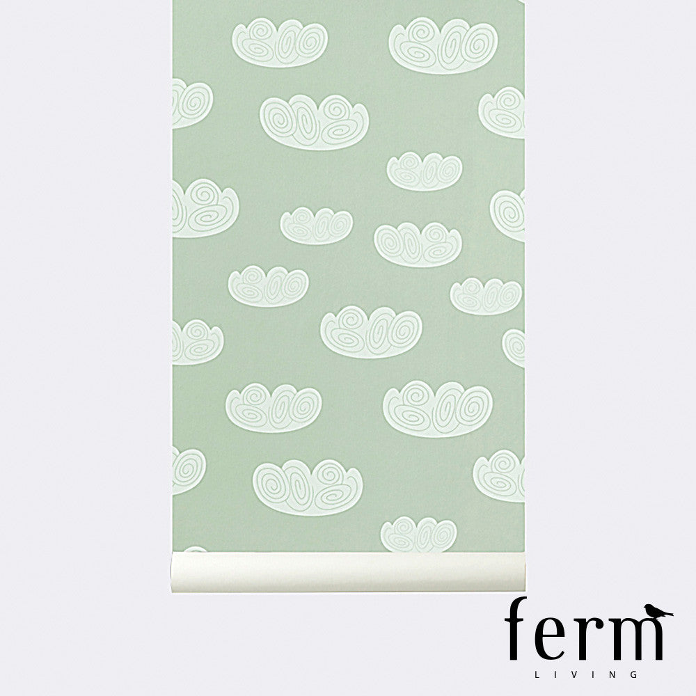 Ferm Living Cloud Wallpaper Mint - LoftModern