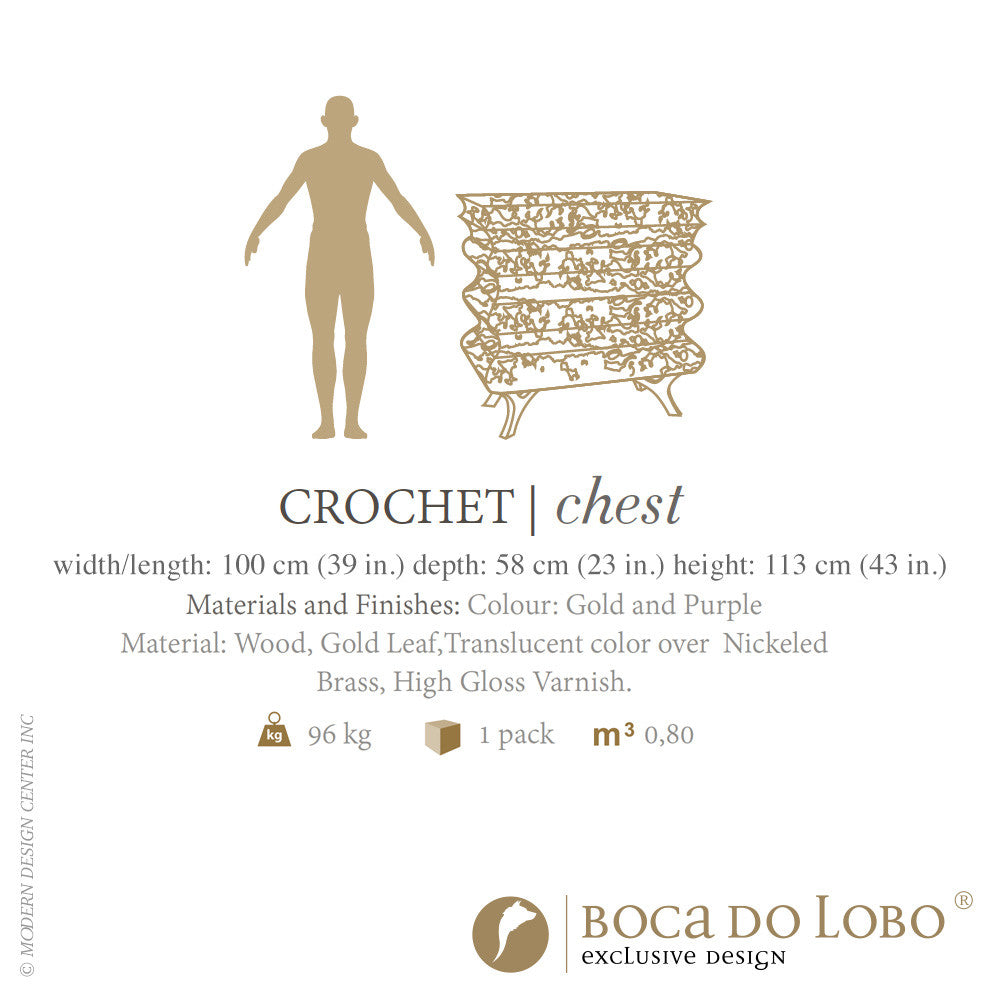 Boca do Lobo Crochet Chest Purple Limited Edition | Boca do Lobo | LoftModern