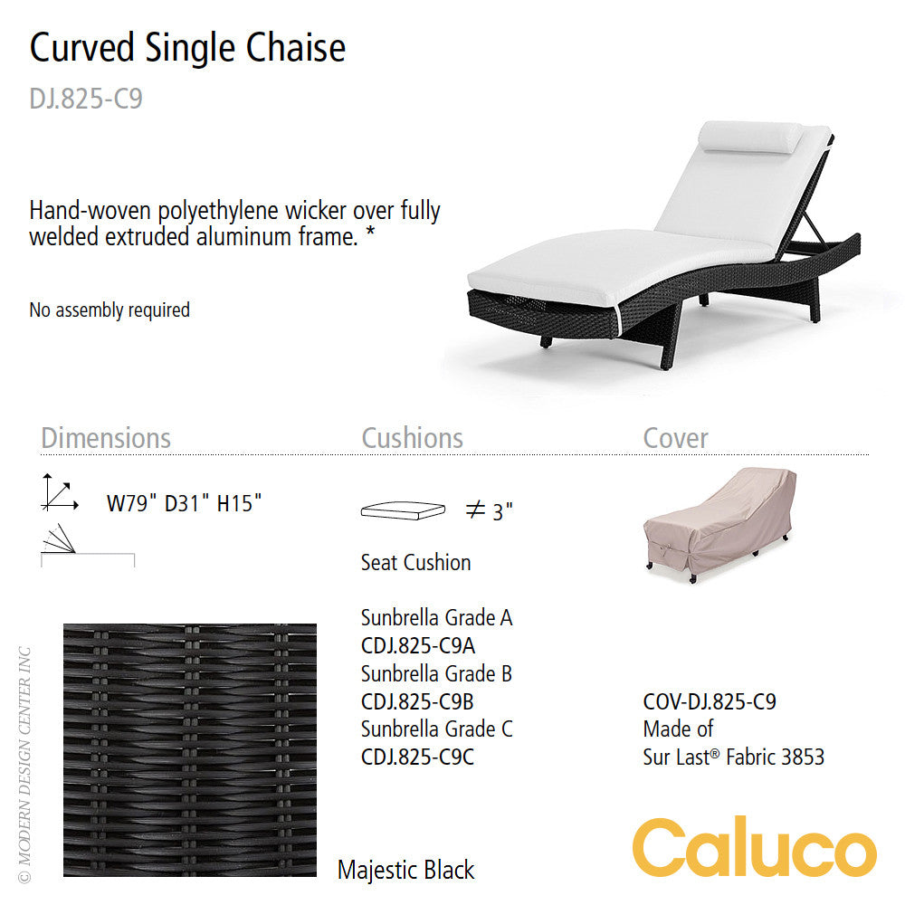 Dijon Curved Single Chaise by Caluco - LoftModern - 2