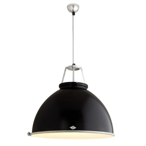 Titan Size 5 Black with Etched Diffusor Pendant Light of Original BTC