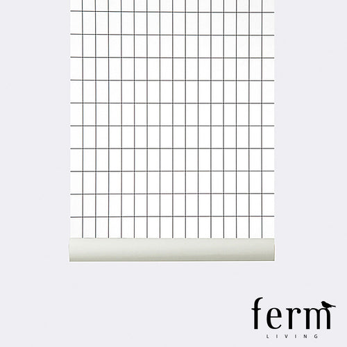 Ferm Living Grid Wallpaper Black White | Ferm Living | LoftModern