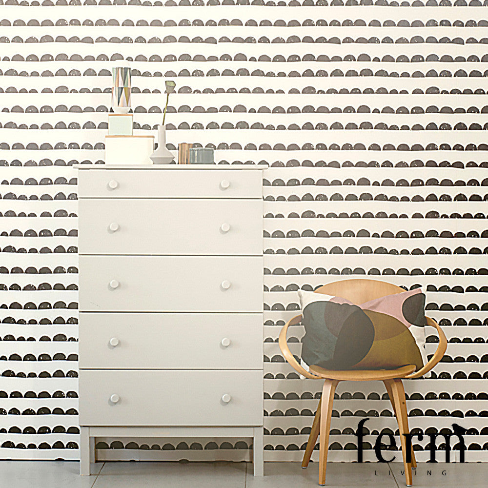 Ferm Living Half Moon Wallpaper Black | Ferm Living | LoftModern