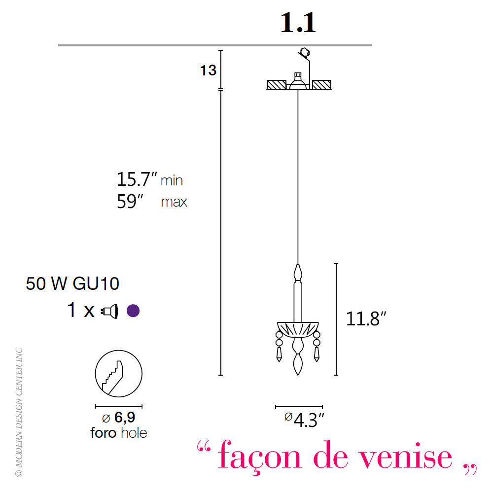 Facon de Venise Limelight 1.1 Chandelier - LoftModern - 5