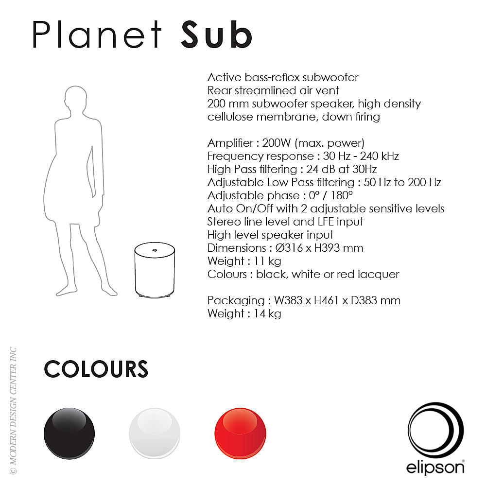 Planet Subwoofer Black by Elipson
