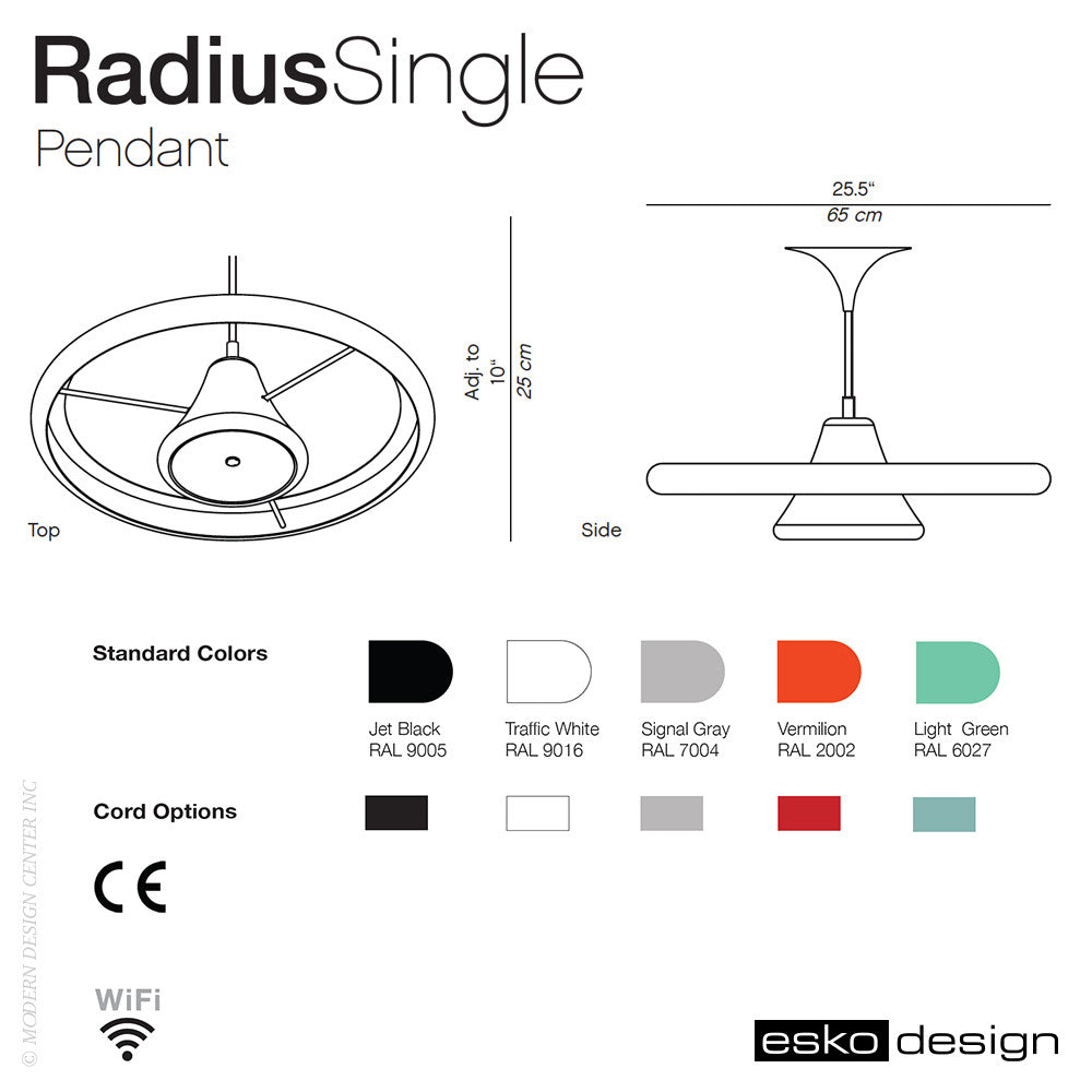 Radius Single Pendant by Esko Design | Esko Design | LoftModern