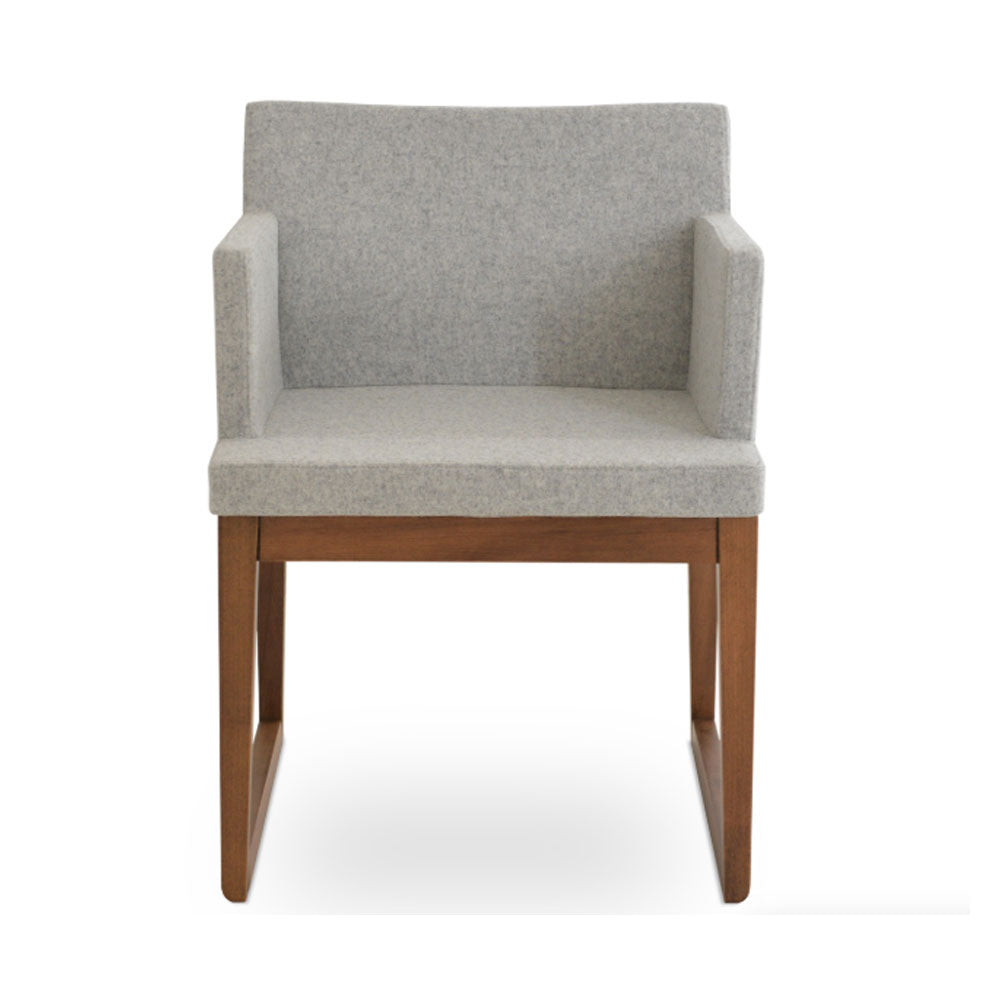 Soho Sled Wood Arm Chair Fabric by SohoConcept