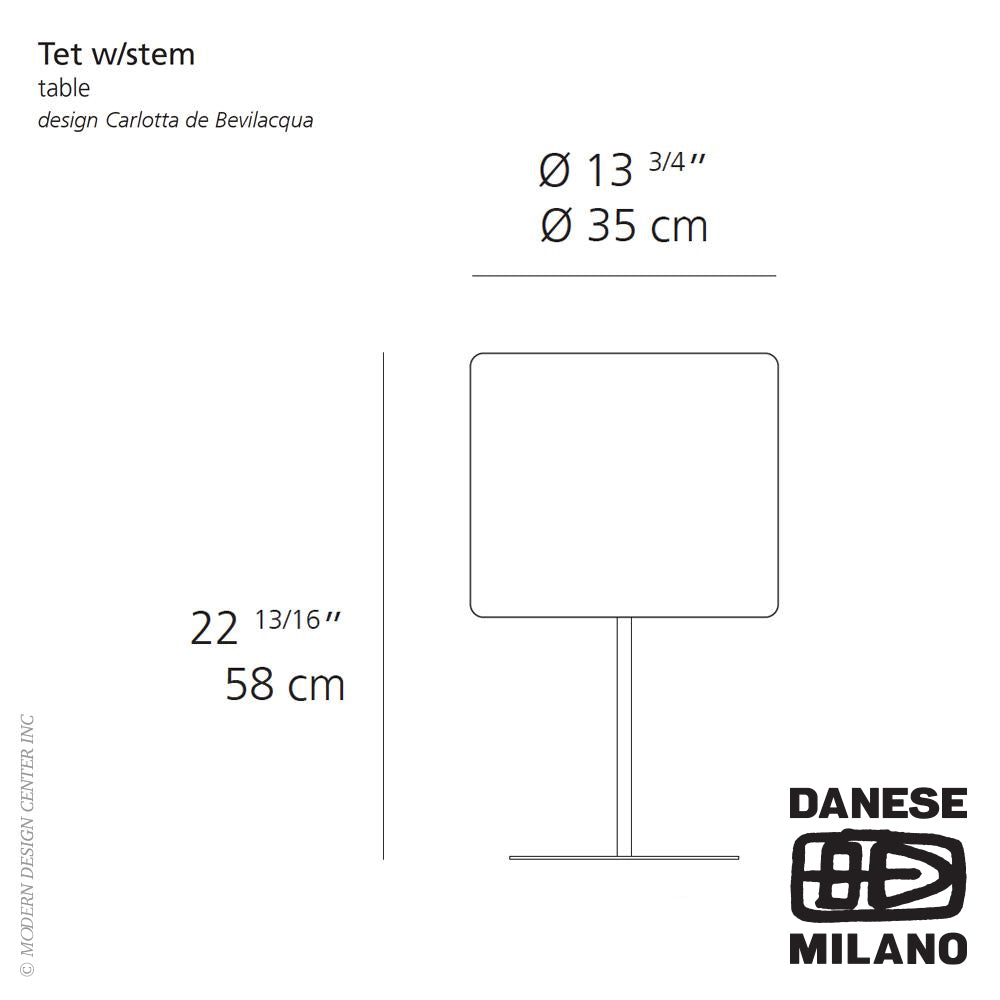 Tet with Stem Table Lamp by Danese Milano