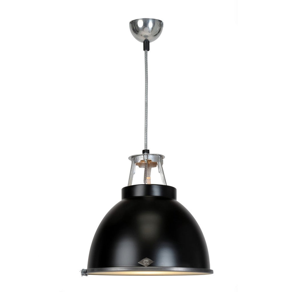Titan Size 1 Black with Etched Glass Pendant Light of Original BTC