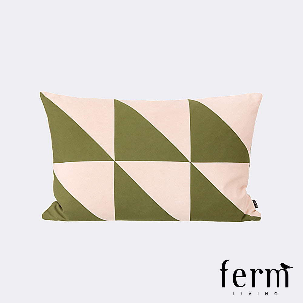 Ferm Living Twin Triangle Cushion Olive/Rose - LoftModern - 1