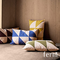Ferm Living Twin Triangle Cushion Olive/Rose - LoftModern - 2