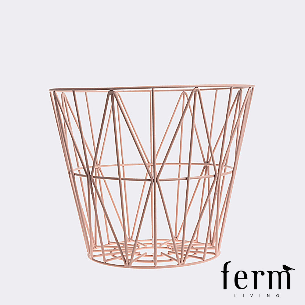 Ferm Living Wire Basket Rose Medium | Ferm Living | LoftModern