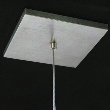 Brushed aluminum (CM-006) low-profile square canopy with white braided cord
