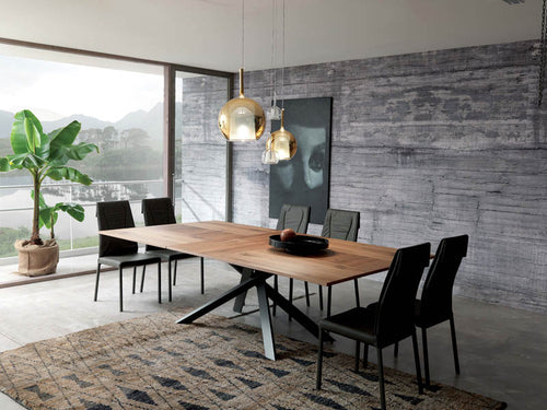 4x4 Wild Cenere Oak Top Dining Table by Ozzio