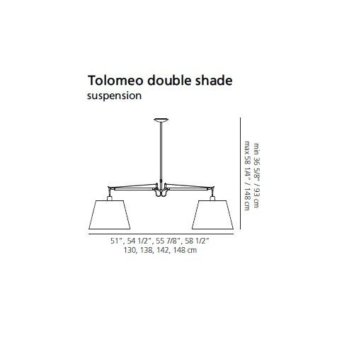 Artemide Tolomeo Double Shade Black Fabric Suspension | Artemide | LoftModern