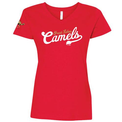 Great Lakes Loons V-Neck Camel Tee - Lady's