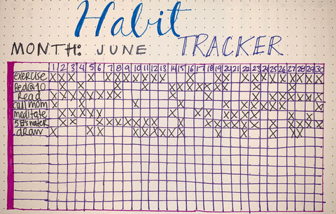 homemade habit tracker in onebook journal
