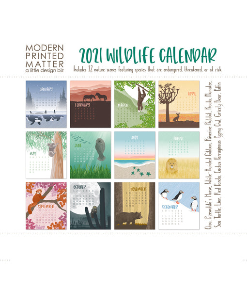2021 WILDLIFE DESK CALENDAR