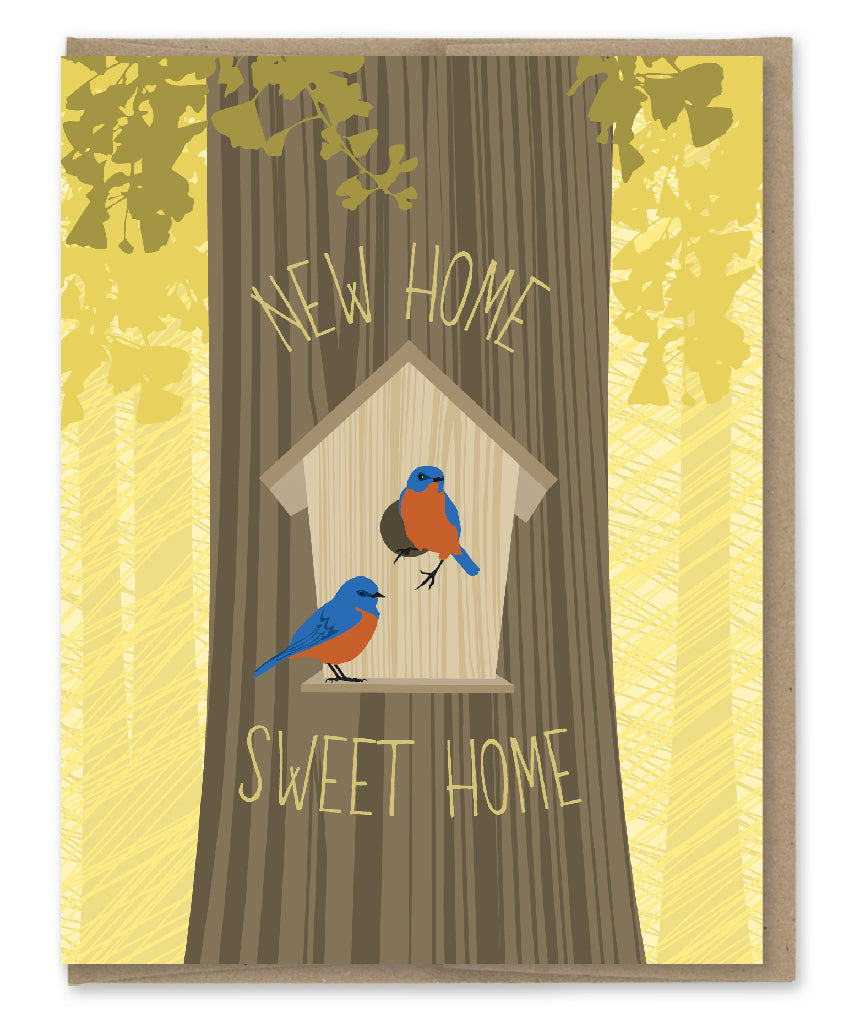 BLUE BIRDS NEW HOME CARD