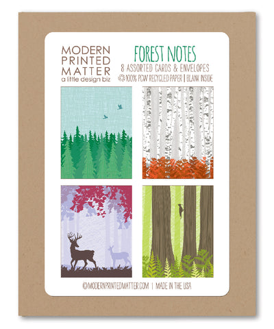 FOREST ASSORTED BLANK CARDS (BOX OF 8)