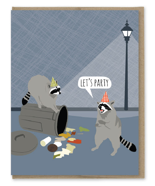 RACCOON PARTY BIRTHDAY CARD