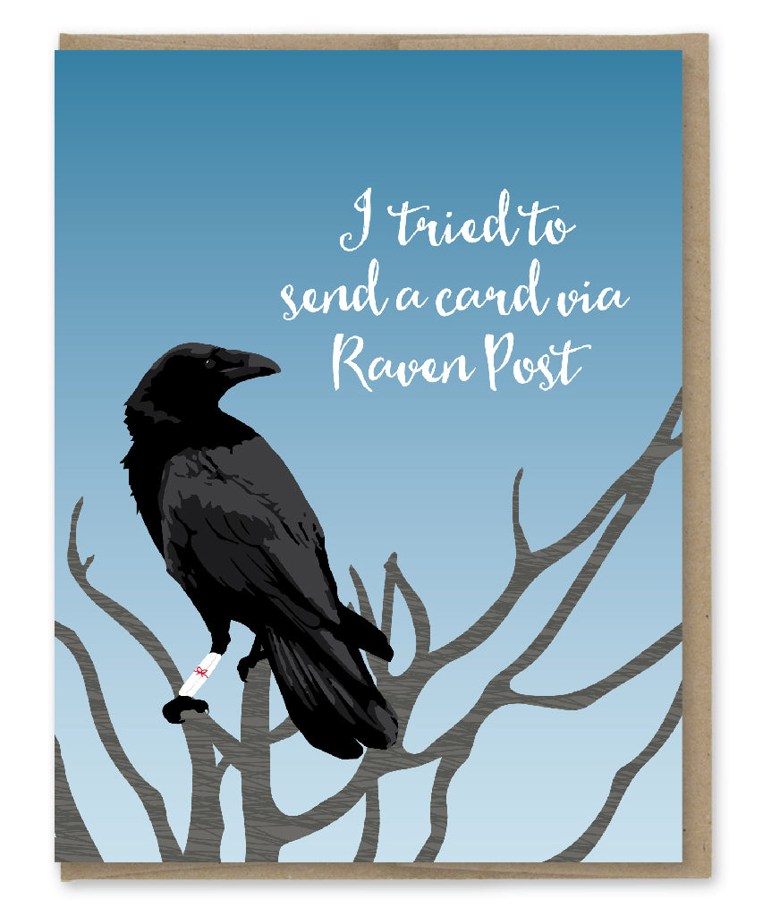 RAVEN POST BELATED BIRTHDAY CARD