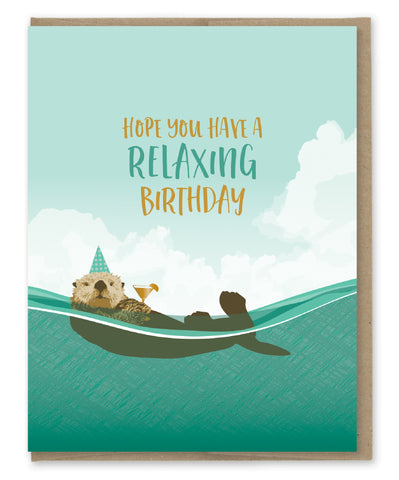 OTTER RELAXING BIRTHDAY CARD