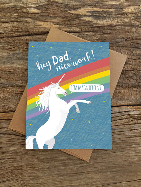 DAD MAGNIFICENT UNICORN CARD