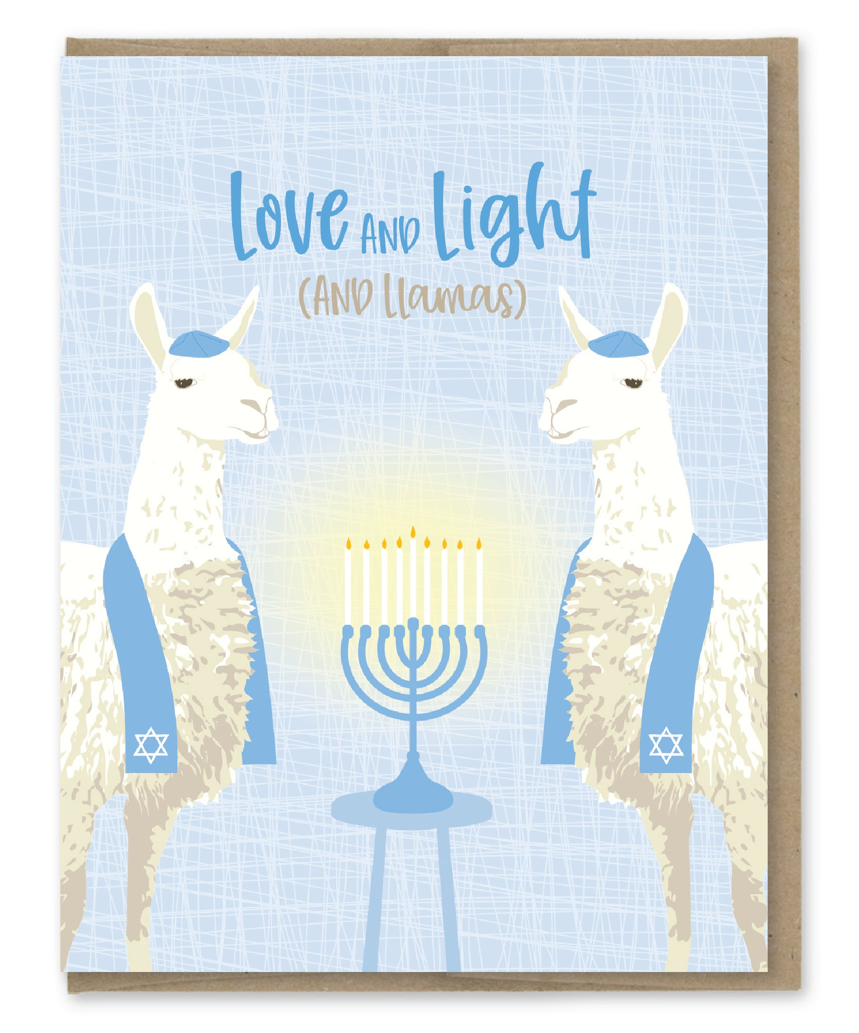 LIGHT AND LLAMAS HANUKKAH CARD