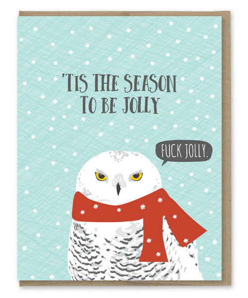 BE JOLLY OWL HOLIDAY CARD