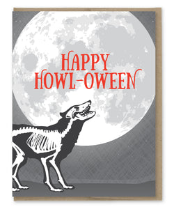 SKELETON HOWL-OWEEN CARD