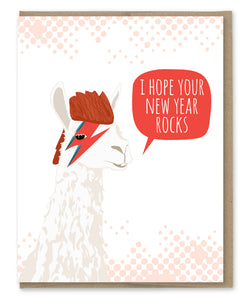 BOWIE LLAMA NEW YEAR'S CARD