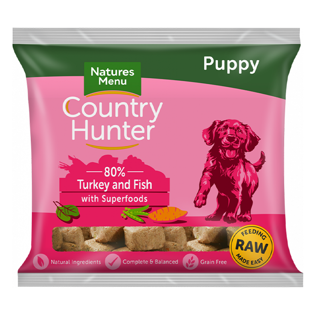 Country Hunter Raw Nuggets - Turkey & Fish with Superfoods for Puppies
