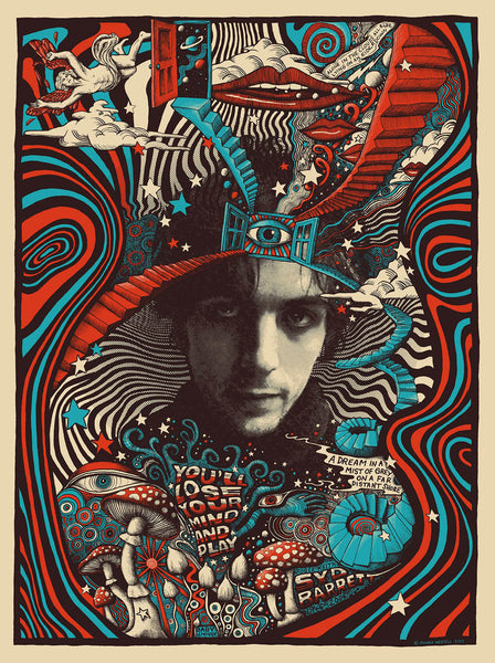 Syd Barrett commemorative print - cream