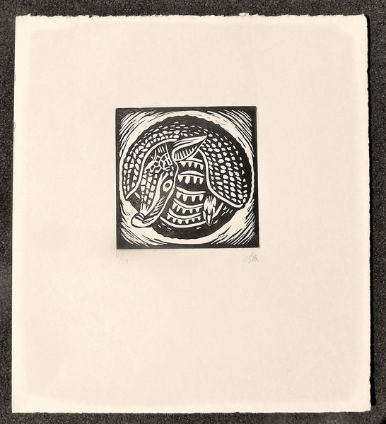 Armadillo in a Ball block print