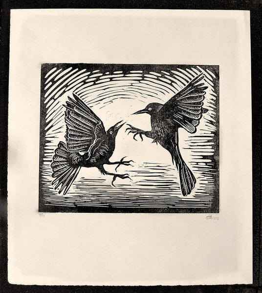 Grackle pair block print
