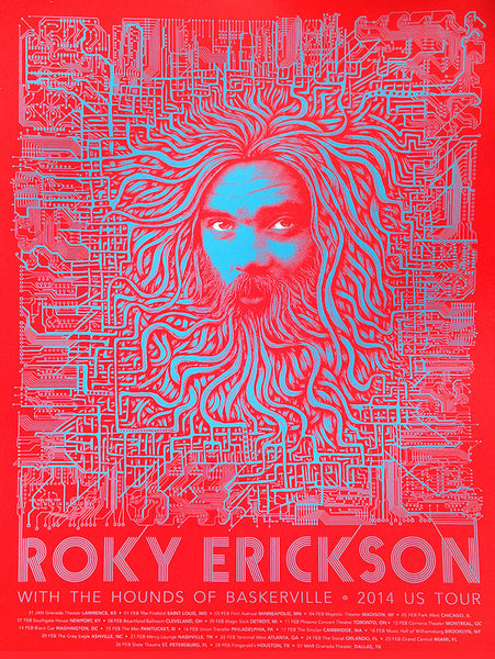 Roky Erickson 'Circuit Board' Poster (RED) SOLD OUT