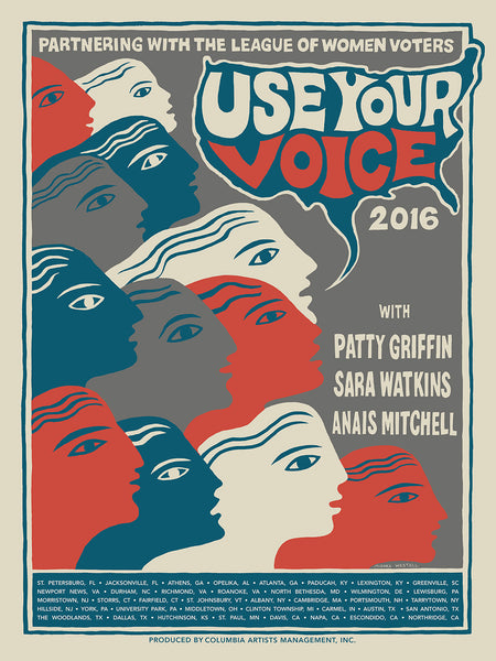 'Use Your Voice' Tour Poster - Patty Griffin, Sara Watkins, Anais Mitchell