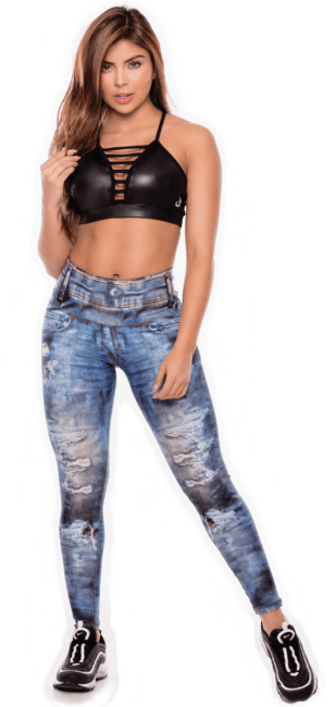 Laura Sanchez - sports model for athletics wear in jeans style