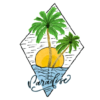 my Sports Paradise logo - sea - sun - 2 palm trees