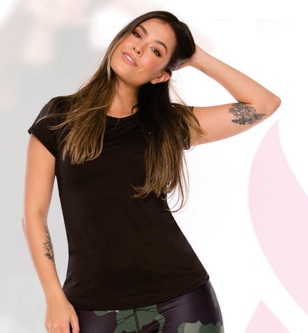 schwarzes kurzarm Top - Curvy Line- Athletics Wear