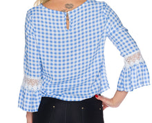Load the image into the gallery viewer, blue white checkered blouse - my sports paradise