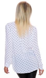 Blouse white with star pattern - my Sports Paradise