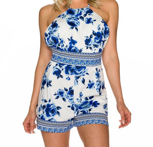 Playsuit white blue floral - my sports paradise