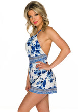 Load the image into the gallery viewer, playsuit white blue floral - my Sports Paradise