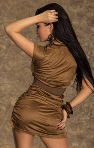 velvety brown stretch mini dress - my sports paradise
